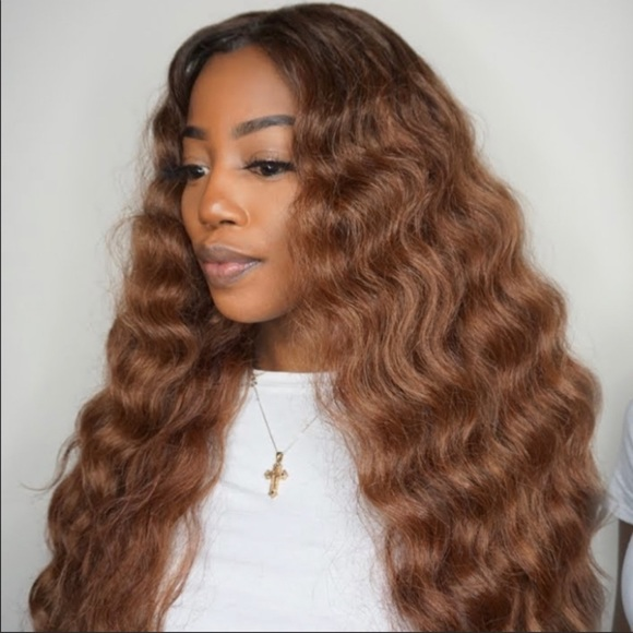 Choco Blonde Loose Wavy Lace Wig Human Hair Blend